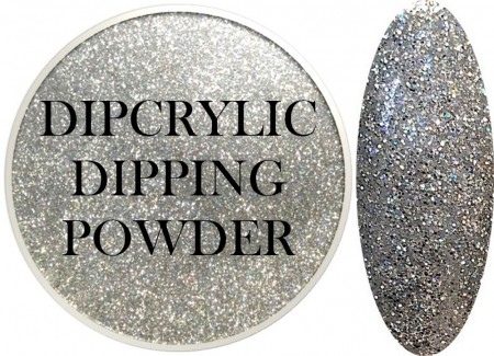 Dipcrylic Acrylic Dipping Powder - Glitter Collection - Holographic Silver