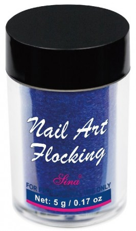 Flocking Nail Art - 07 - Deep Blue