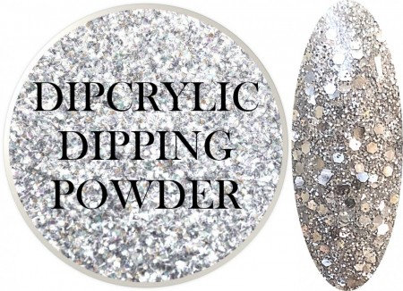 Dipcrylic Acrylic Dipping Powder - Glitter Collection - Sparkling Chrome Mix