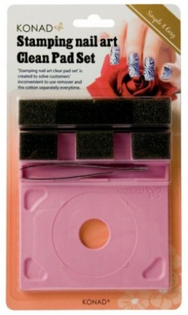 Konad Nail Art - Rensesett - Clean Pad & Holder Kit