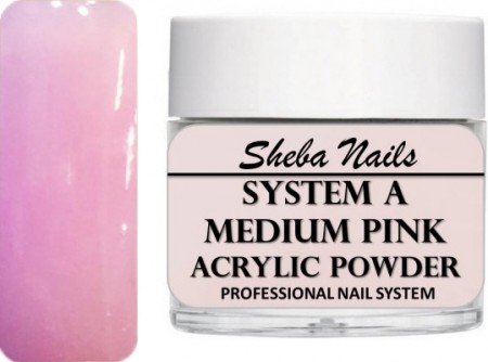 Sheba Nails - Selvjevnende akrylpulver - Medium Pink - 15 ml