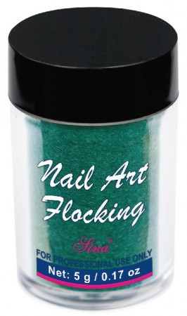 Flocking Nail Art - 05 - Dark Green