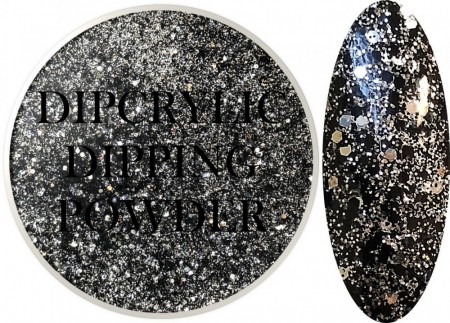 Dipcrylic Acrylic Dipping Powder - Glitter Collection - Sparkling Tuxedo