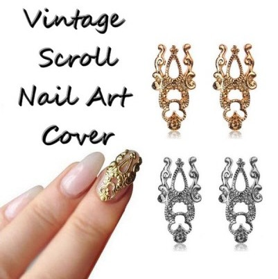 Metal Vintage Scroll Nail Art Cover Plate